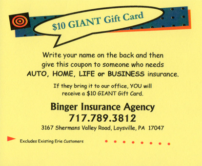 Life insurance with free gift card